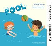 Children In Pool. Vector...