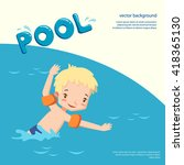 boy in a swimming pool. vector...   Shutterstock .eps vector #418365130