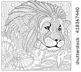 zentangle stylized cartoon lion ... | Shutterstock .eps vector #418367440