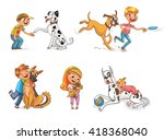 dalmatian giving paw to a boy.... | Shutterstock .eps vector #418368040