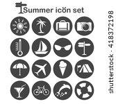 summer icons set  16 travel... | Shutterstock .eps vector #418372198