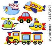 set of cartoon transport icon.... | Shutterstock .eps vector #418373974