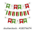 cute bunting flags with letters ... | Shutterstock . vector #418376674