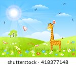 giraffe with flower and... | Shutterstock .eps vector #418377148