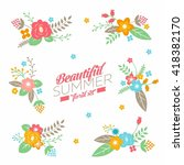 collection with cute summer... | Shutterstock .eps vector #418382170