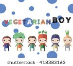 vegetarian  card with cute and...   Shutterstock .eps vector #418383163