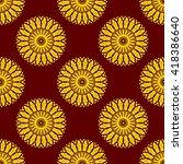 vector seamless yellow floral... | Shutterstock .eps vector #418386640