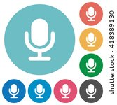flat microphone icon set on...