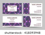 purple business card set with...