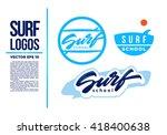 surf logo wave vector... | Shutterstock .eps vector #418400638