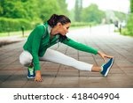 young fitness woman runner... | Shutterstock . vector #418404904