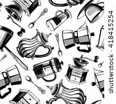 hand drawn vintage black coffee ...   Shutterstock .eps vector #418415254