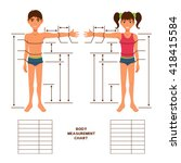 child body measurement chart.... | Shutterstock .eps vector #418415584