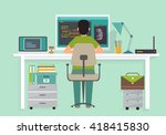 programmer working writing code ... | Shutterstock .eps vector #418415830