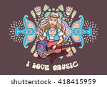 hippie girl. ornamental... | Shutterstock .eps vector #418415959