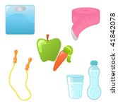set of diet and fitness icons | Shutterstock .eps vector #41842078