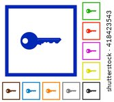 set of color square framed key...