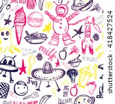 seamless pattern cosmic kids....   Shutterstock .eps vector #418427524
