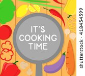 vegetarian recipes banner with... | Shutterstock .eps vector #418454599