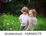 beautiful little girl collects... | Shutterstock . vector #418460179