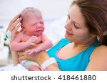mother giving birth to a baby.... | Shutterstock . vector #418461880