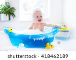 happy laughing baby taking a... | Shutterstock . vector #418462189