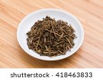 japanese tea leaf named hojicha | Shutterstock . vector #418463833