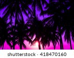 coconuts silhouettes with... | Shutterstock . vector #418470160