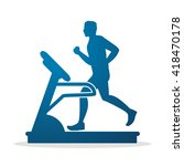 man running on a treadmill... | Shutterstock .eps vector #418470178