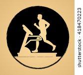 man running on a treadmill... | Shutterstock .eps vector #418470223
