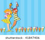 two funny girls eating ice cream (colorful hand drawn vector) - stock vector