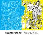 Funny Food Manga Doodle (hand drawn vector) - stock vector