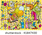 Colorful Food Doodle (hand drawn vector) - stock vector