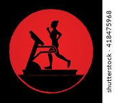 woman running on a treadmill... | Shutterstock .eps vector #418475968