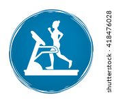 woman running on a treadmill... | Shutterstock .eps vector #418476028
