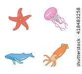 marine life vector icons   Shutterstock .eps vector #418483258