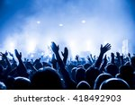 silhouettes of concert crowd in ... | Shutterstock . vector #418492903