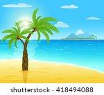 sea  sand  green palms  sun... | Shutterstock .eps vector #418494088