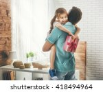 happy loving family and father... | Shutterstock . vector #418494964