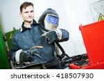 industrial arc welding worker | Shutterstock . vector #418507930