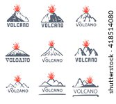 volcano eruption logo set ... | Shutterstock .eps vector #418514080