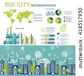 eco city in flat design.... | Shutterstock .eps vector #418517950