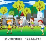 boys playing football in the... | Shutterstock .eps vector #418521964