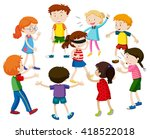 kids playing blind folded... | Shutterstock .eps vector #418522018