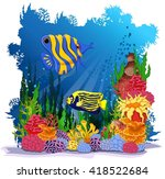 angel fish with sea life... | Shutterstock .eps vector #418522684