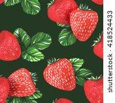 watercolor strawberries... | Shutterstock . vector #418524433