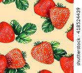 watercolor strawberries...   Shutterstock . vector #418524439