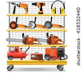 vector supermarket shelves with ...   Shutterstock .eps vector #418532440