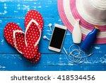 overhead view of traveler's... | Shutterstock . vector #418534456