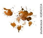 orange ocher coffee watercolor... | Shutterstock .eps vector #418542214